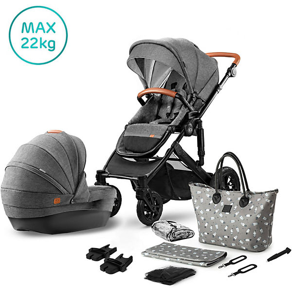 Kombi Kinderwagen Prime 2020, 2in1, inkl. Mommy Bag, grau