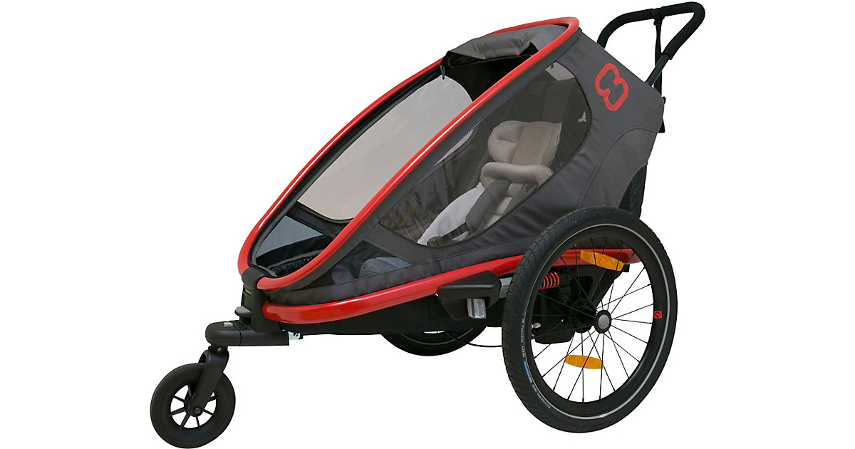 Fahrradanhänger OUTBACK ONE  (incl. bicycle arm & stroller wheel)reclining rot