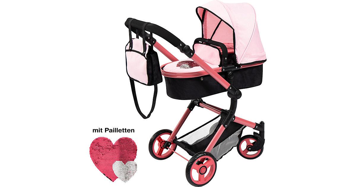 Puppenwagen Pram City Vario von Bayer schwarz/rosa