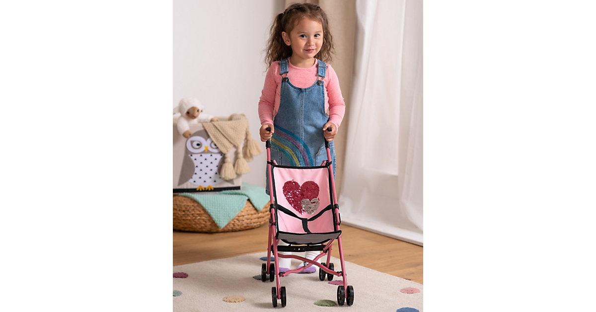 Puppen Buggy Pailletten von Bayer silber/rosa