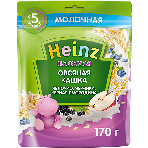 Каша Heinz Лакомая молочная овсяная яблоко черника чёрная смородина, с 5 мес от Heinz