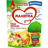 Каша Малютка молочная овсяная с фруктами, с 6 мес