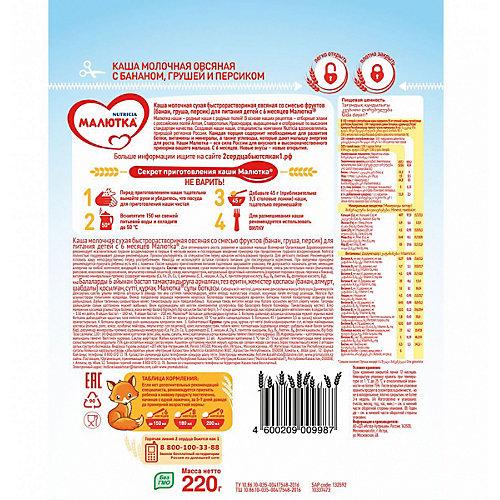 Каша Малютка молочная овсяная с фруктами, с 6 мес от Малютка