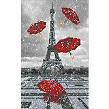 """Алмазная мозаика Фрея """"Париж. Летящие зонтики"""", 32х52 см"""