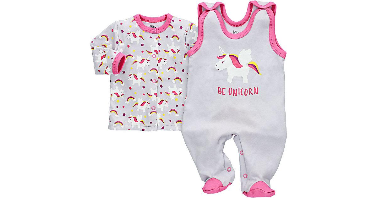 2tlg Set Strampler + Shirt Be Unicorn Strampler grau-kombi Gr. 56 Mädchen Kinder