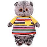 Мягкая игрушка Budi Basa Кот Басик в полосатой футболке с карманом, 19 см