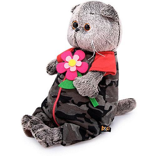Одежда для мягкой игрушки Budi Basa Комбинезон на молнии серый к ярко-розовому цветку из фетра, 30 см от Budi Basa