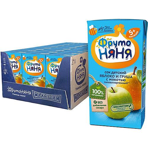 Сок ФрутоНяНя яблоко и груша с мякотью, с 5 мес, 18 шт по 200 г от ФрутоНяня