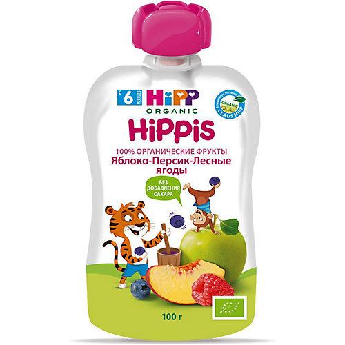 Пюре HiPP HiPPis яблоко, персик, лесные ягоды, с 6 мес, 6 шт от HiPP