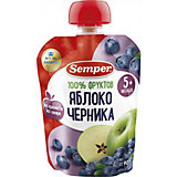 Пюре Semper яблоко и черника, с 5 мес, 12 шт