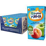 Сок ФрутоНяНя яблоко и персики, с 5 мес, 18 шт по 200 г