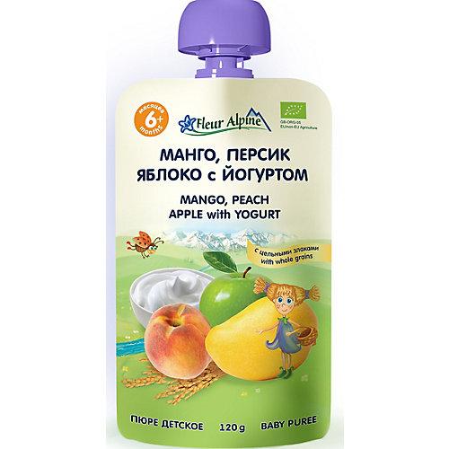 Пюре Fleur Alpine манго-персик-яблоко с йогуртом, с 6 мес, 6 штук от Fleur Alpine