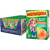 Нектар Малышам яблочно-персиковый неосветлённый, с 5 мес, 18 шт по 200 г