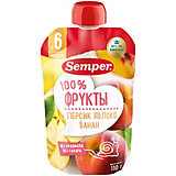 Пюре Semper персик, яблоко, банан, с 6 мес, 12 шт