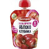 Пюре Semper яблоко и клубника, с 6 мес, 12 шт