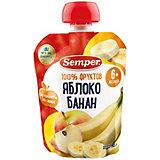 Пюре Semper яблоко и банан, с 6 мес, 12 шт