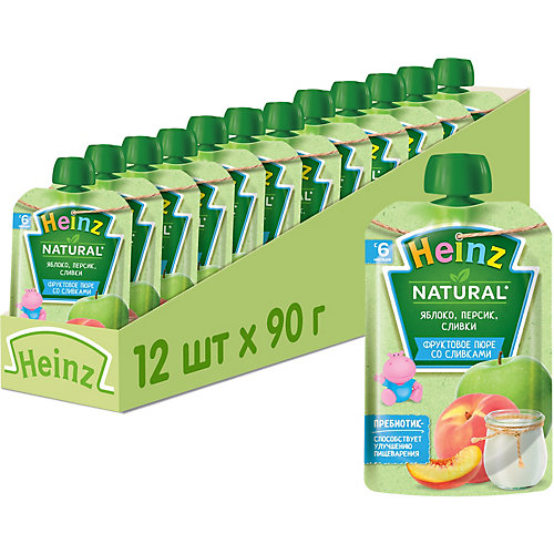 Пюре Heinz яблоко, персик, сливки, с 6 мес, 12 штук от Heinz