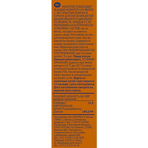 Компот ФрутоНяНя яблоки и курага с экстрактом изюма, с 3 лет, 15 шт по 500 г от ФрутоНяня