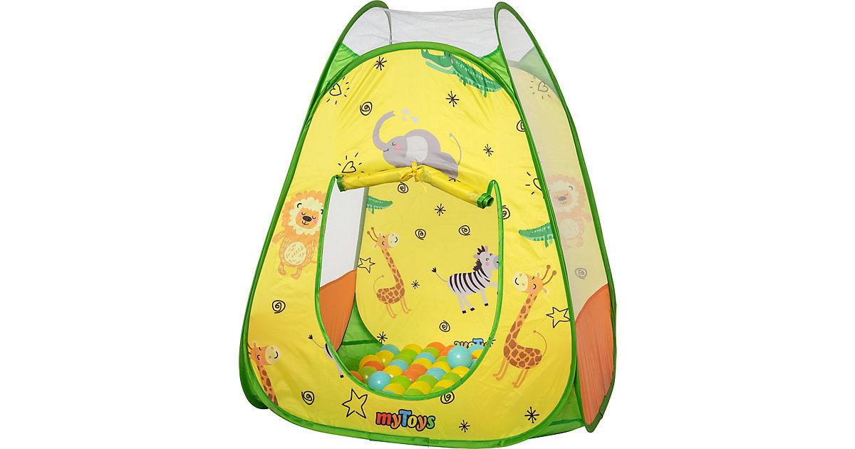 myToys PopUp Bällebad Zootiere mit 100 Bällen gelb