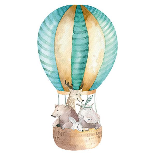 Wandtattoo Aquarell Heissluftballon Mit Tieren Dekodino Mytoys