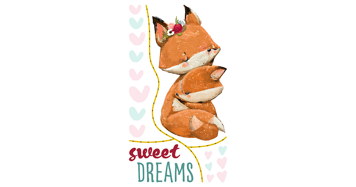 Wandtattoo Sprüche Aquarell Füchse - Sweet Dreams mehrfarbig Gr. 66 x 120 | Dekoration > Wandtattoos > Wandtattoos | dekodino