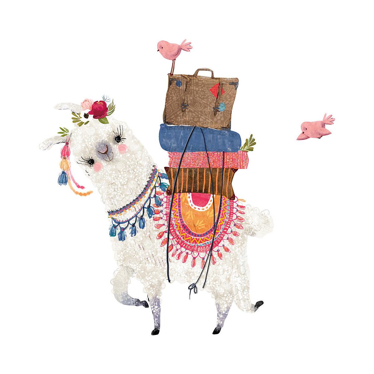 Wandtattoo Aquarell Tiere Lama auf Reisen mit Gepäck