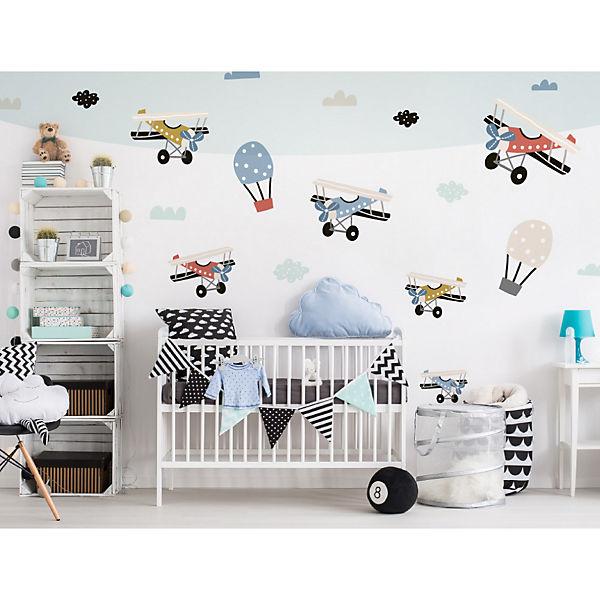 Wandtattoo Set Pastell Flugzeuge Mit Heissluftballon Dekodino Mytoys