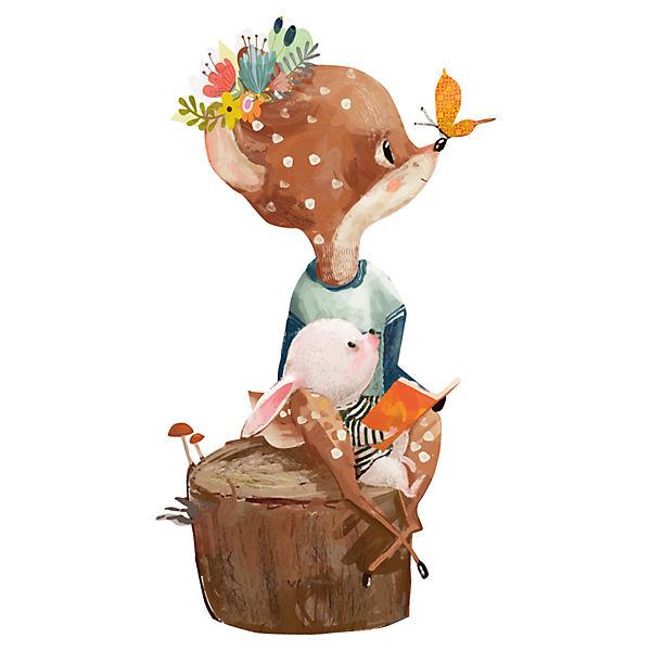 Wandtattoo Aquarelltiere Baby Reh mit Blumen Kinderzimmer Deko