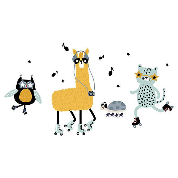 Wandtattoo Pastell Tiere Auf Rollschuhen Dekodino Mytoys