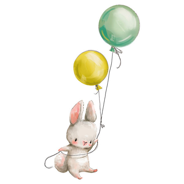 Wandtattoo Aquarell Baby Hase mit Luftballons