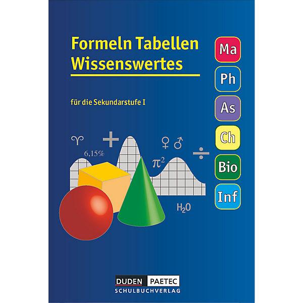 Formeln, Tabellen, Wissenswertes für die Sekundarstufe I, Duden ...