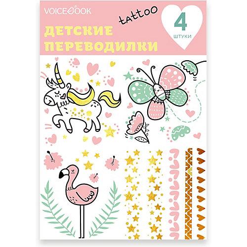"""Татуировка-переводилка """"Фламинго и Единорог"""" от VoiceBook"""