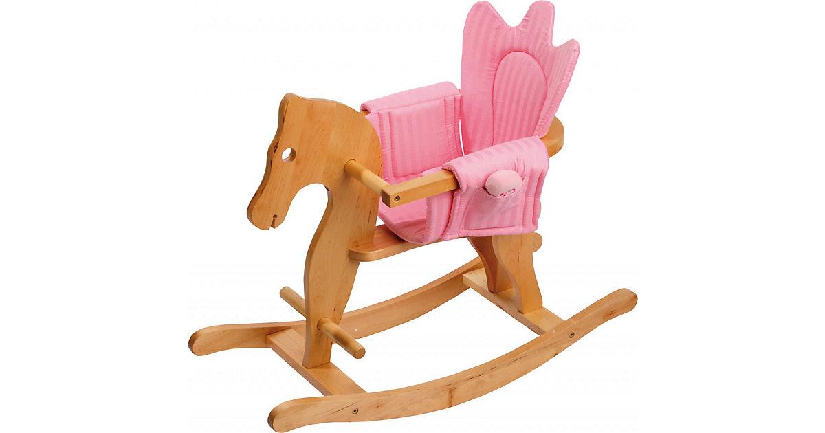 Schaukelpferd mit Sitzeinhang holzfarben