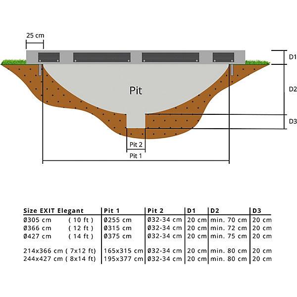 EXIT Elegant Inground-Trampolin ø366cm mit Economy Sicherheitsnetz - grau, EXIT F797Cs