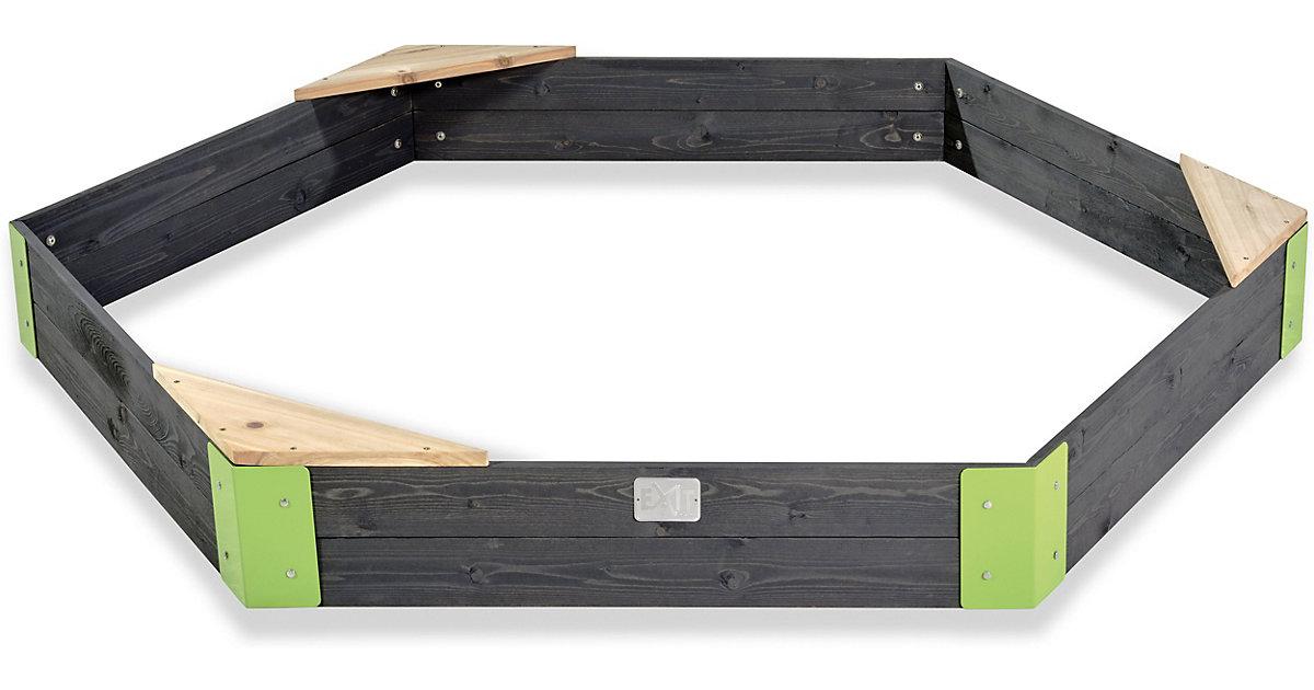 EXIT Aksent Holzsandkasten sechseckig 200x170cm grau