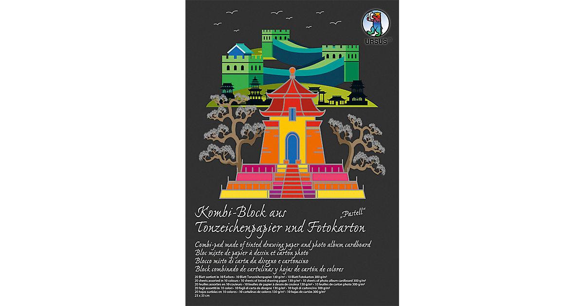 """Kombi-Block 23X33cm,20 BlattTonpapier + Fotokarton """"Pastell"""" pastell"""