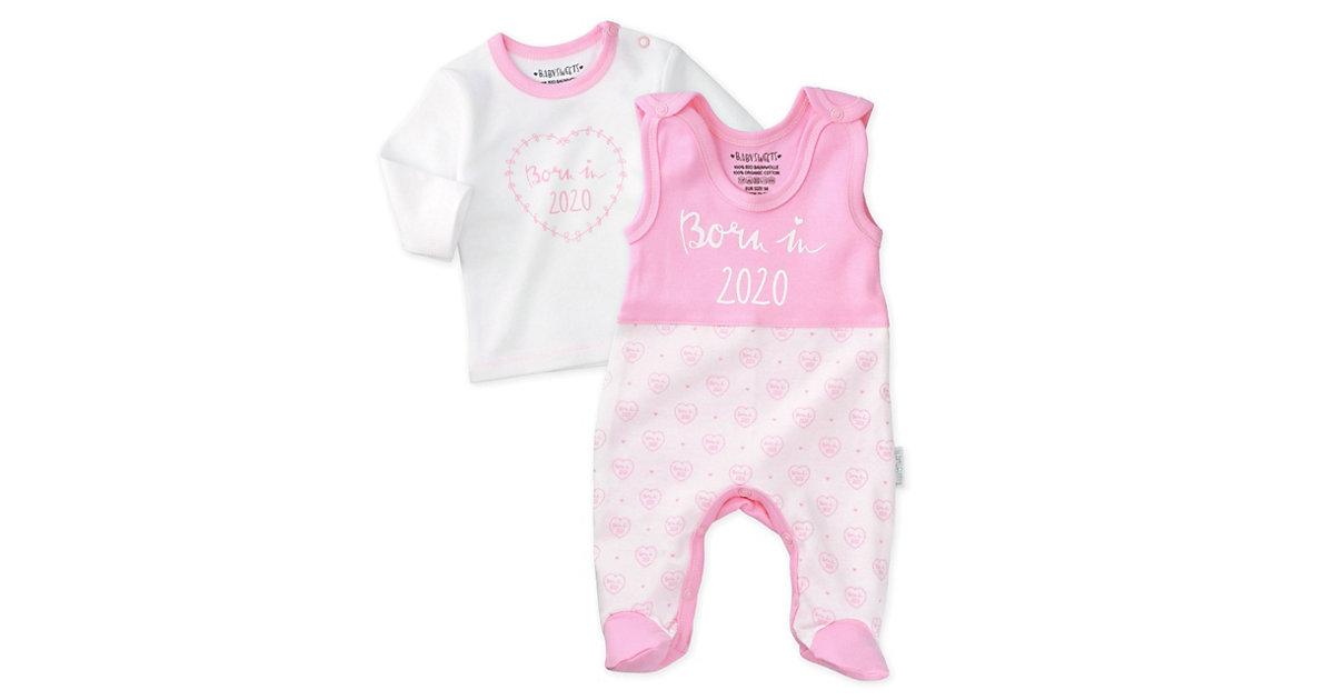 2tlg Set Strampler + Shirt Born in 2021 Strampler weiß-kombi Gr. 62 Mädchen Kinder