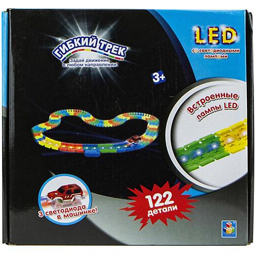 Гибкий трек 1Toy LED со светодиодными лампами, 122 детали от 1Toy