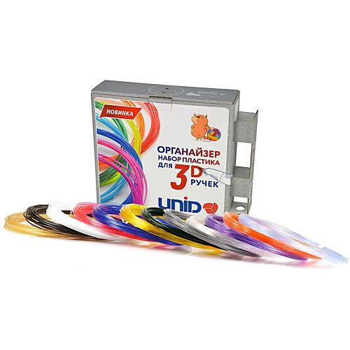 Комплект пластика Unid PRO для 3Д ручек, 12 цветов в органайзере от Unid