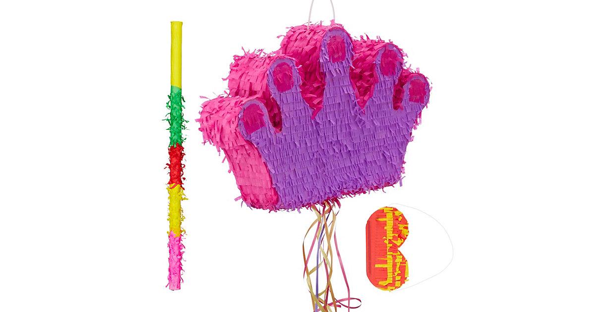 3 tlg. Pinata Set Krone, Pinatastab   Augenmaske, Piñata Prinzessin, Zugpinata lila
