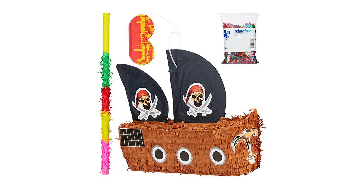 4 tlg. Pinata Set Piratenschiff, Riesen Metallic Konfetti bunt, Maske und Stock braun