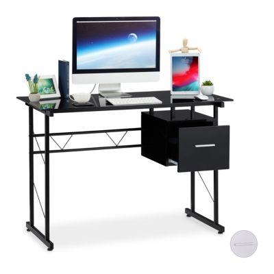 Schreibtisch Glas mit Schublade schwarz