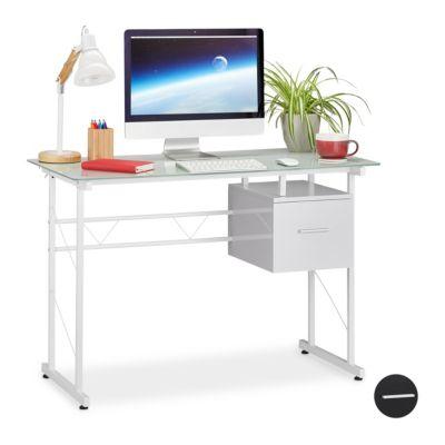 Schreibtisch Glas mit Schublade weiß