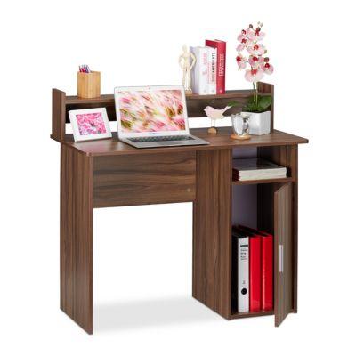 Schreibtisch mit Seitenfächern holzfarben