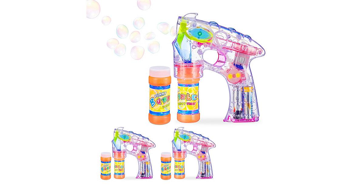 3 x Seifenblasenpistole, Seifenblasenmaschine Seifenblasen Bubble Gun Kinder LED transparent