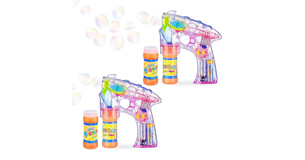 2 x Seifenblasenpistole, Seifenblasenmaschine LED Seifenblasen Bubble Gun Kinder transparent