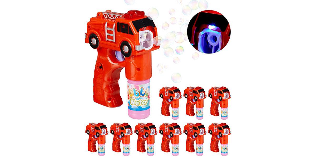 10 x Seifenblasenpistole Feuerwehr LED Bubble Maker rot Seifenlauge Seifenblasen