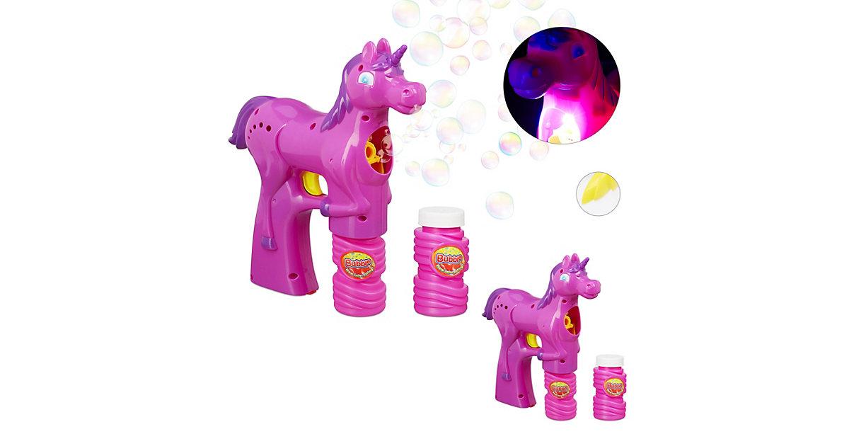 2 x Einhorn Seifenblasenpistole Seifenblasen LED Seifenblasenmaschine Kinder pink