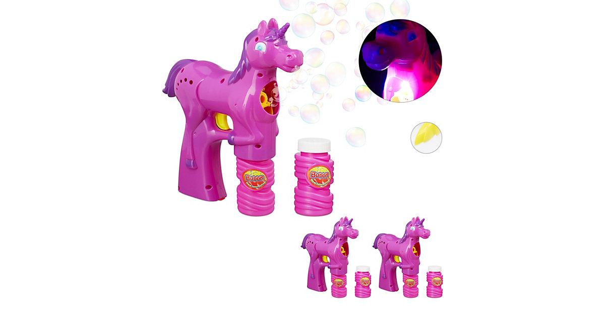 3 x Einhorn Seifenblasenpistole pink Seifenblasenmaschine LED 300ml Seifenlauge