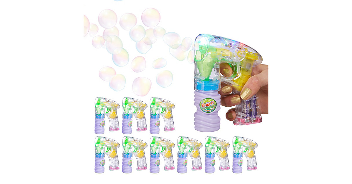 10 x Seifenblasenpistole LED, Seifenblasenmaschine, inklusive Seifenblasenlösung mehrfarbig
